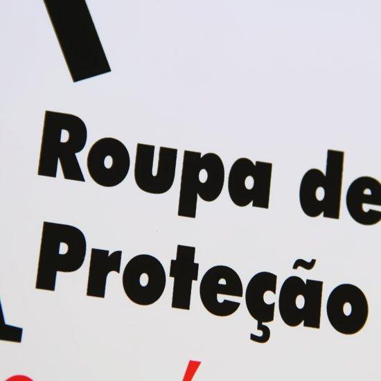 Placa Sinalizadora Atenção Uso Obrigatório Roupa de Proteção - Imagem zoom