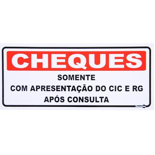 placa sinalizadora para cheques após consulta