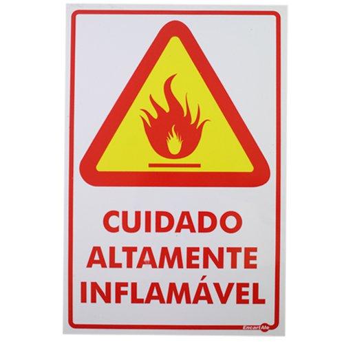 placa sinalizadora cuidado altamente inflamável