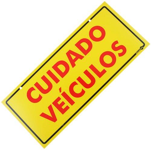 placa sinalizadora cuidado veículos (frente e verso)