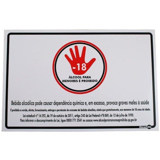 Placa Sinalização Álcool para Menores é Proibido  - Imagem zoom