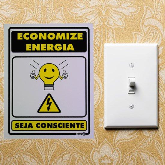 Placa Sinalizadora Economize Energia Seja Consciente  - Imagem zoom