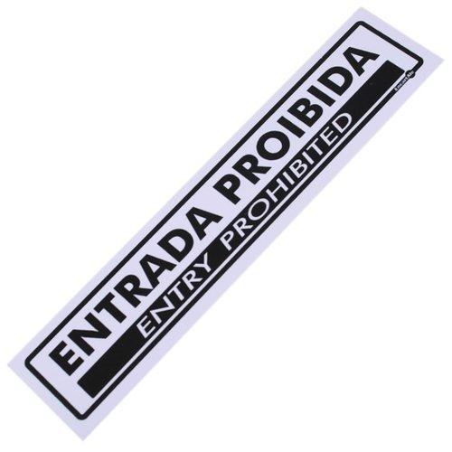 placa sinalizadora de entrada proibida bilíngue