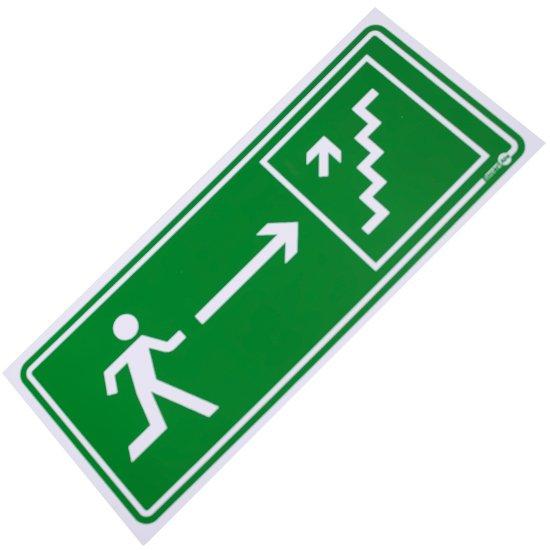 Placa Sinalizadora de Saída de Emergência pela Escada à Direita - Imagem zoom