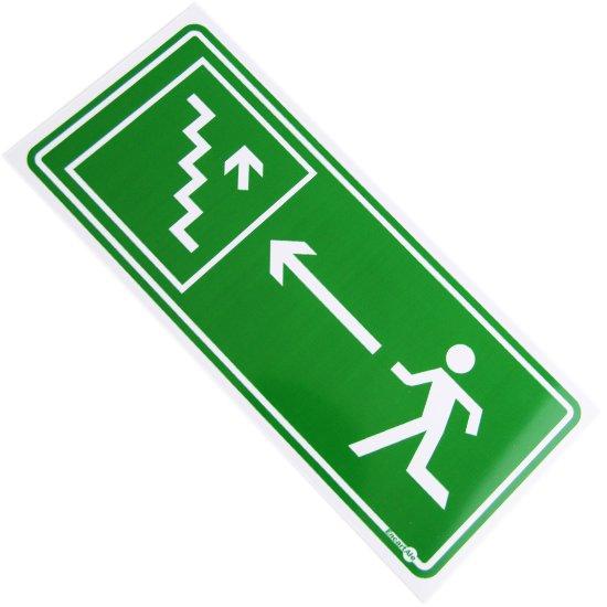 Placa Sinalizadora de Saída de Emergência pela Escada à Esquerda - Imagem zoom