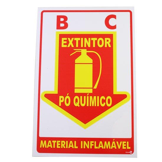 Placa Sinalizadora Extintor Pó Químico  - Imagem zoom