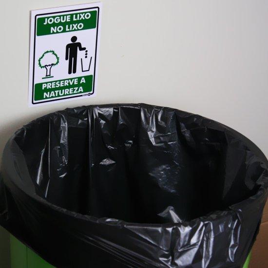 Placa Sinalizadora Jogue o Lixo no Lixo Preserve a Natureza  - Imagem zoom
