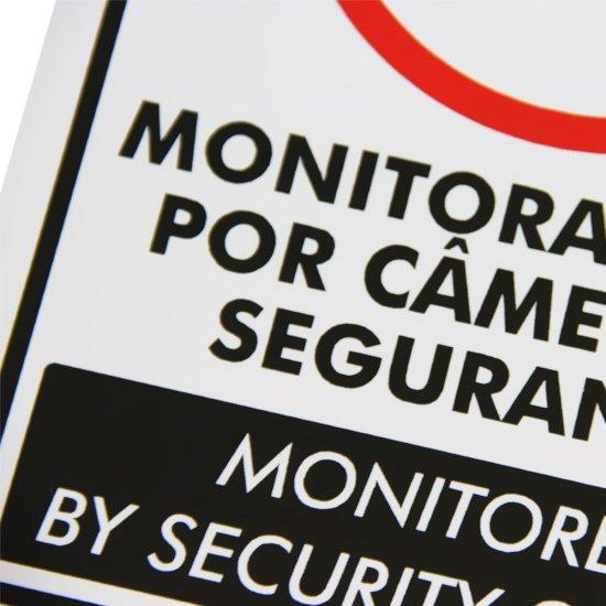Placa Sinalizadora Monitoramento por Câmera (Bilingue) - Imagem zoom