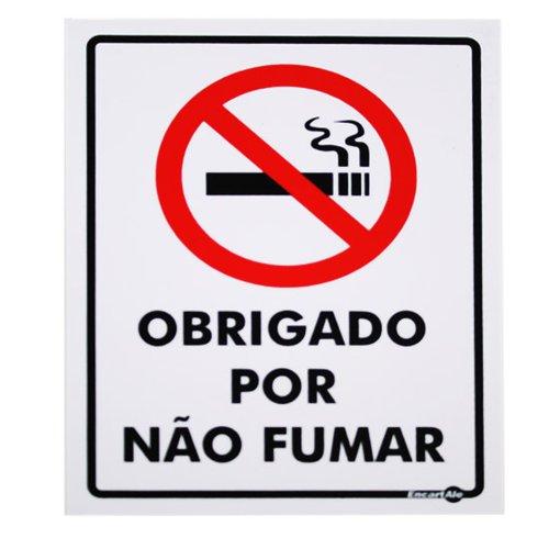 placa sinalizadora obrigado por não fumar