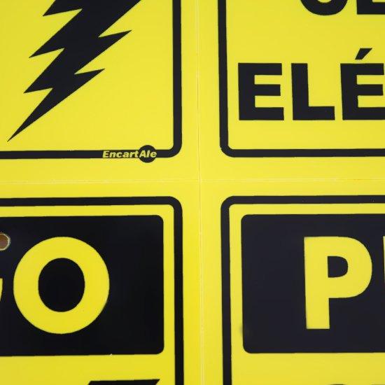 Placa Sinalizadora Perigo Cerca Elétrica com 4 Unidades - Imagem zoom