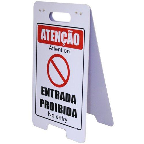 placa sinalizadora dobrável / cavalete de atenção entrada proibida bilíngue