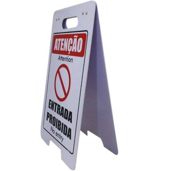 Placa Sinalizadora Dobrável / Cavalete de Atenção Entrada Proibida Bilíngue - Imagem zoom