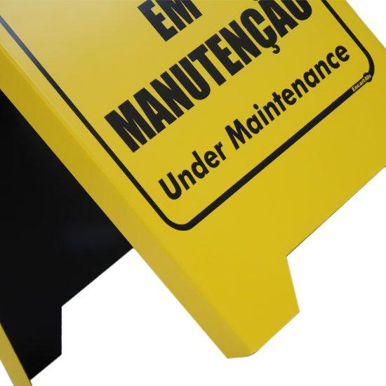 Placa Sinalizadora Dobrável / Cavalete de Cuidado em Manutenção Bilíngue - Imagem zoom