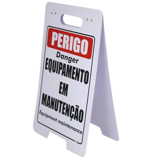Placa Sinalizadora Dobrável / Cavalete de Perigo Equipamento em Manutenção Bilíngue - Imagem zoom