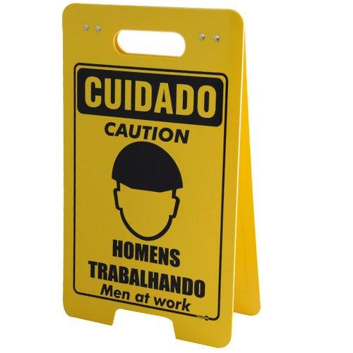placa sinalizadora dobrável / cavalete de cuidado homens trabalhando bilíngue