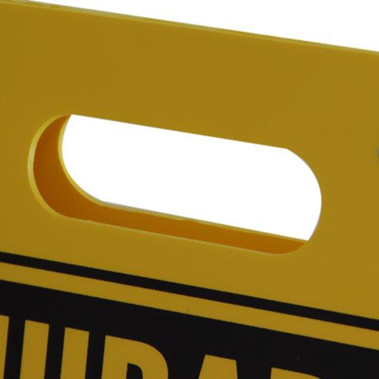 Placa Sinalizadora Dobrável / Cavalete de Cuidado não Entre Bilíngue - Imagem zoom