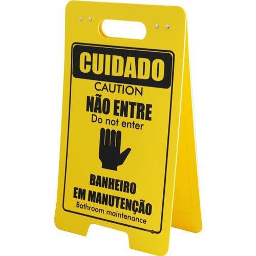 placa sinalizadora cavalete de cuidado não entre banheiro em manutenção bilíngue