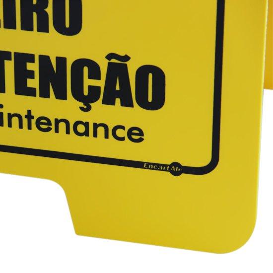 Placa Sinalizadora Cavalete de Cuidado Não Entre Banheiro em Manutenção Bilíngue - Imagem zoom