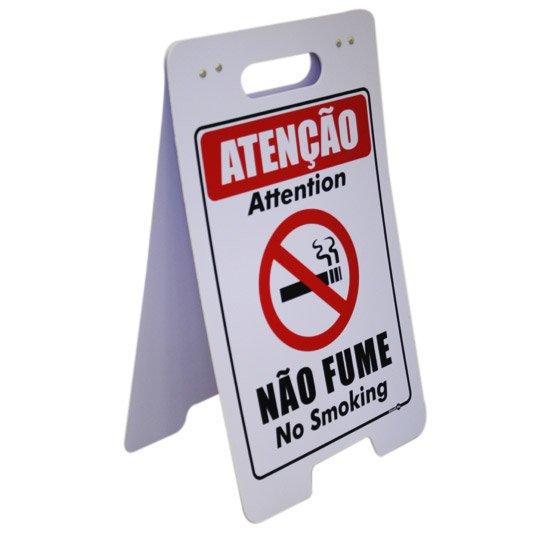 Placa Sinalizadora Dobrável / Cavalete de Atenção Não Fume Bilíngue - Imagem zoom