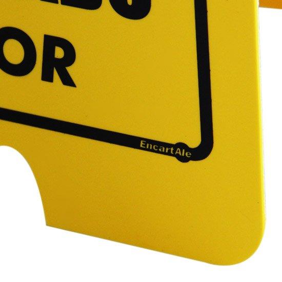 Placa Sinalizadora Dobrável / Cavalete de Cuidado Piso Molhado Bilíngue - Imagem zoom