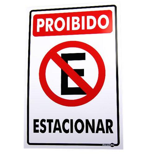 placa sinalização proibido estacionar 20 x 30 cm