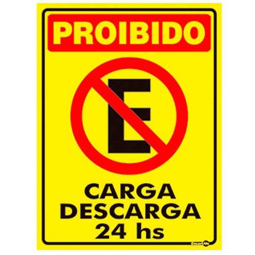placa sinalizadora proibido estacionar carga e descarga 24 horas