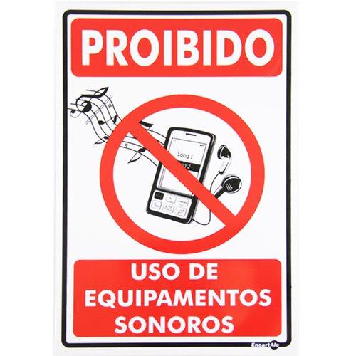 placa sinalizadora proibido uso de equipamento sonoro
