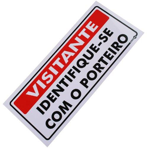 placa sinalizadora visitante identifique-se com o porteiro