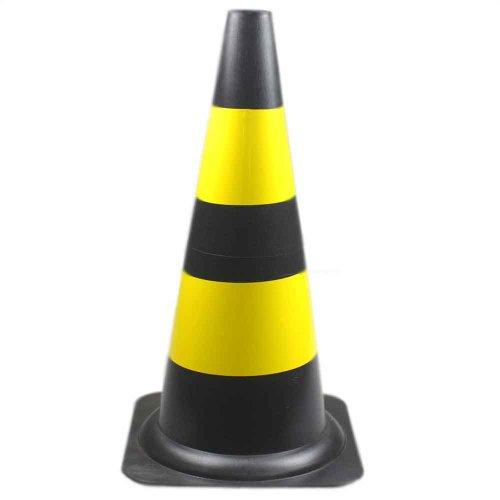 cone sinalizador 50cm preto e amarelo