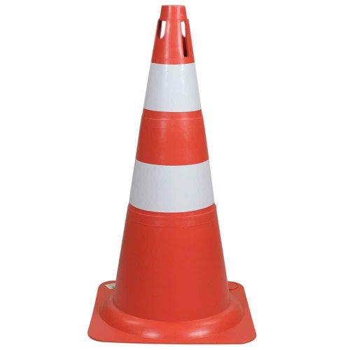 cone sinalizador 75cm laranja e branco
