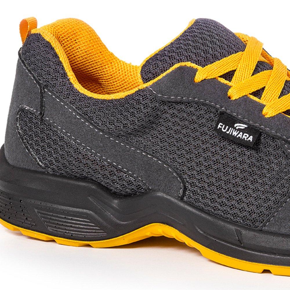 Tênis de Segurança Esportivo com Cadarço Cinza/Amarelo Nº 39 - Imagem zoom