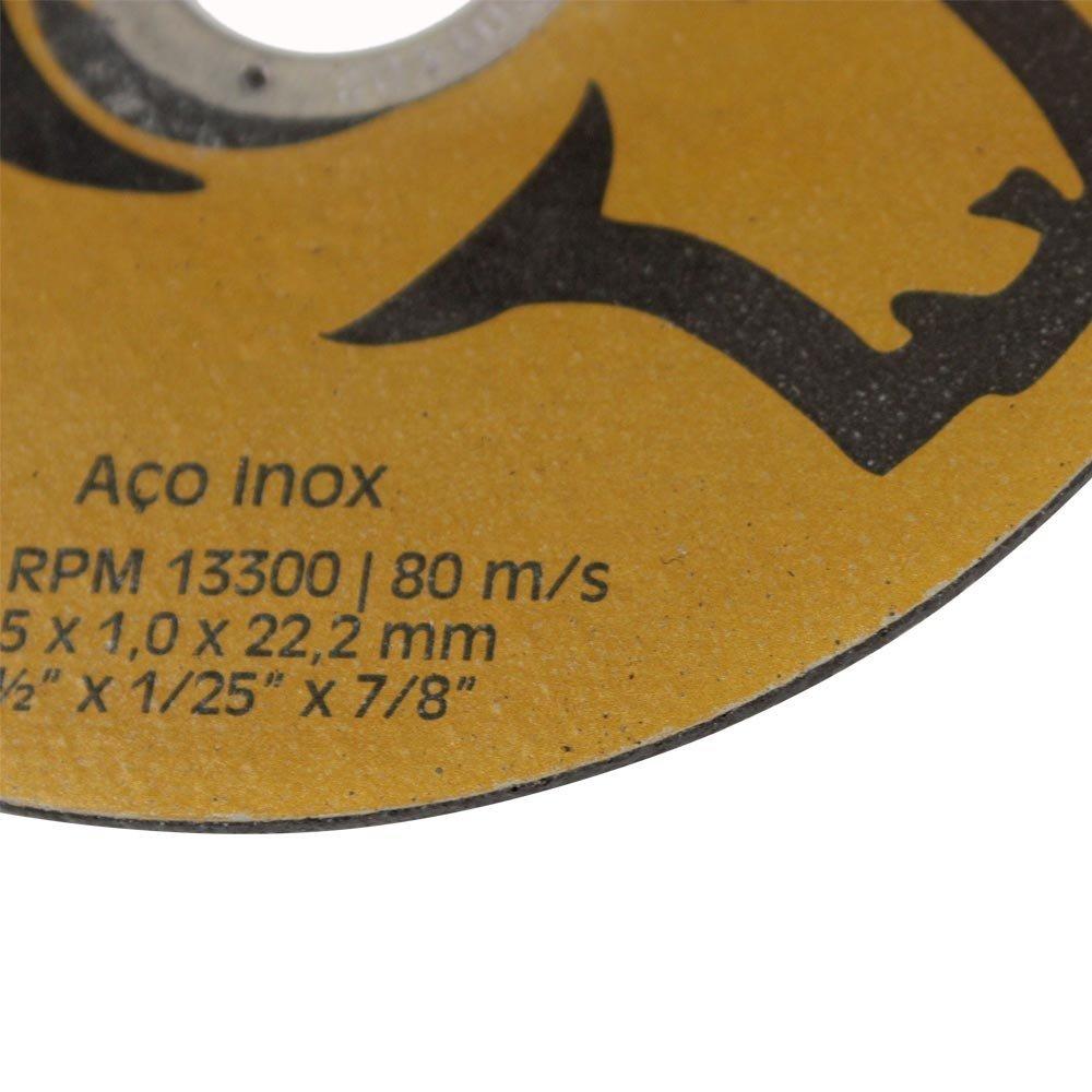 Kit com 100 Discos de Corte de Aço Inox 4.1/2 Pol. - Imagem zoom