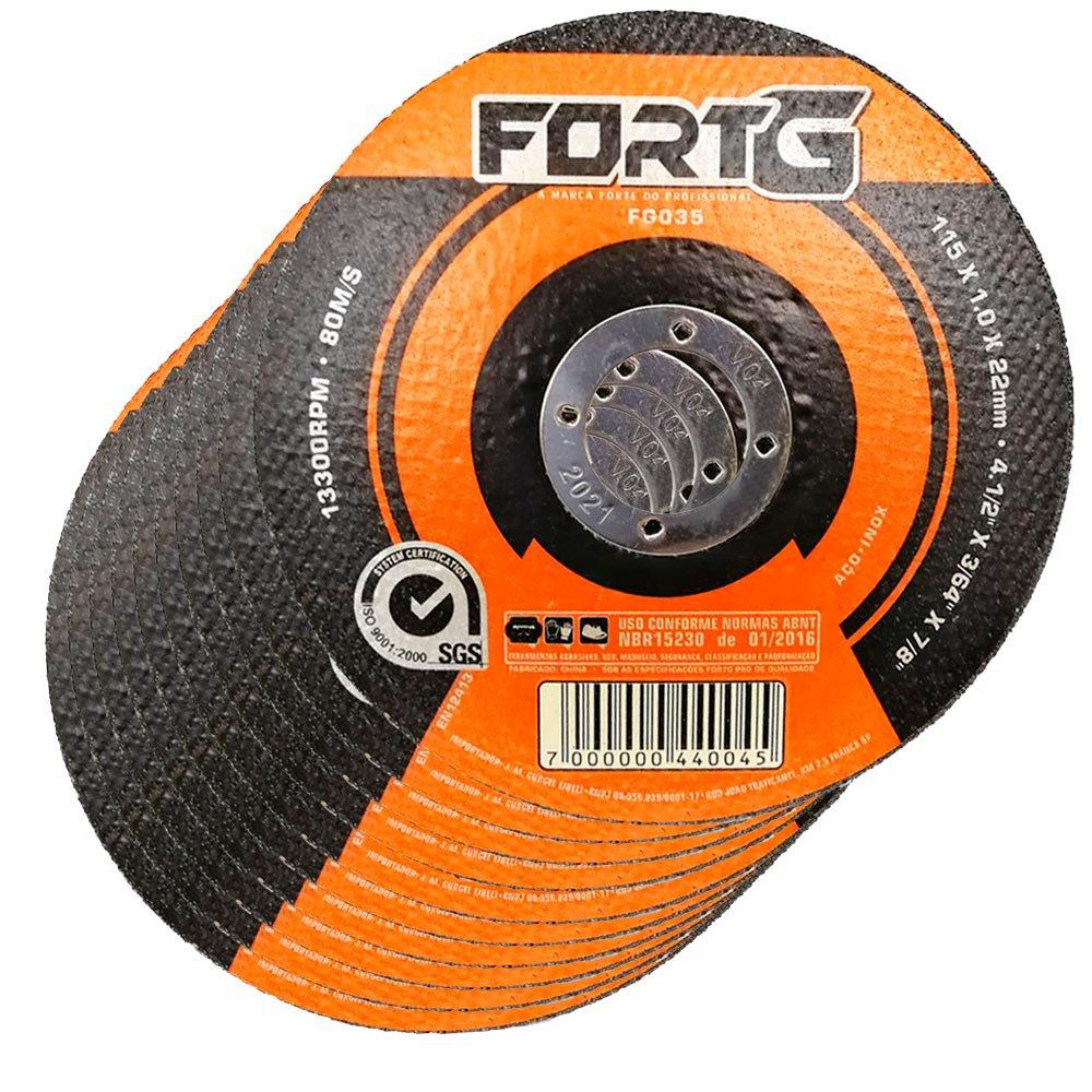 Kit 10 Discos de Corte Fino para Aço Inox 4.1/2 Pol. 115 x 1.0 x 22mm FortGPro-FG035 - Imagem zoom
