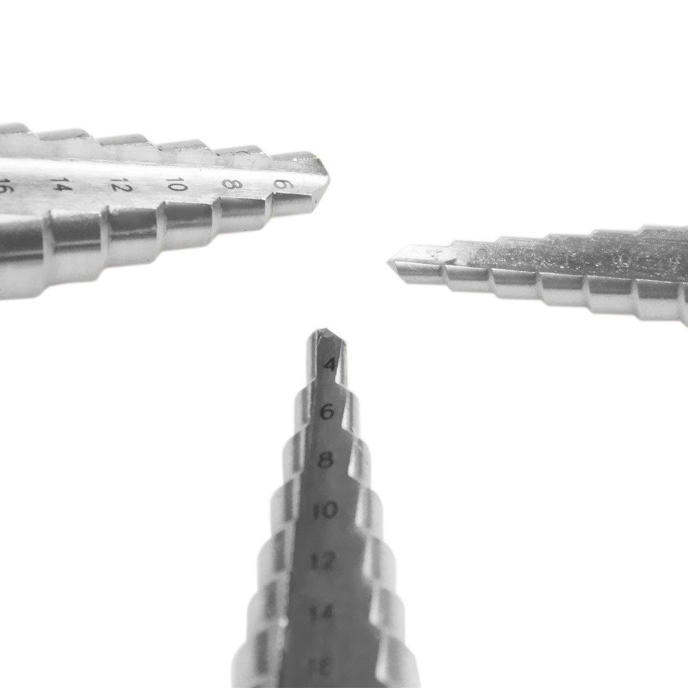 Jogo de Brocas Escalonadas em Aço Rápido HSS em Milímetros com 3 Peças - Imagem zoom