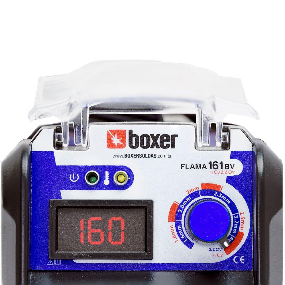Kit Máquina de Solda Inversora BOXER FLAMA161BV 160A 110/220V + Máscara de Solda LYNUS MSL-350F - Imagem zoom