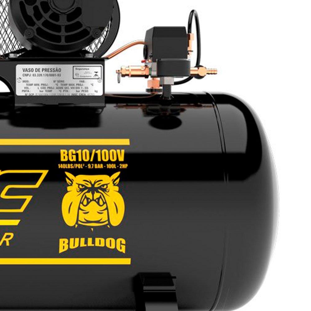 Kit Compressor de Ar FIAC-8975703021 Bulldog 2HP 100 Litros Mono + Chave Parafusadeira de Impacto 1/2 Pol. - Imagem zoom
