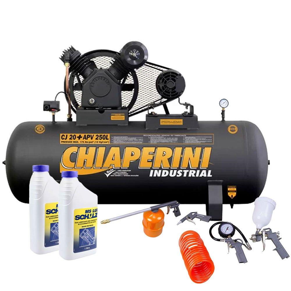 Kit Compressor de Ar CHIAPERINI-690 20 Pés 250L + 2 Óleos Lubrificantes 1L + Kit de Pintura com 5 Peças  - Imagem zoom