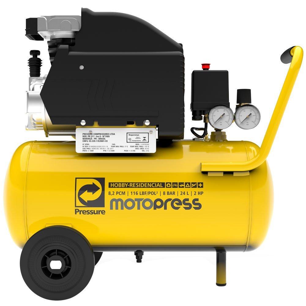 Kit Motocompressor PRESSURE MOTOPRESS  8,2 Pés 24L + Kit de Pintura FORTGPRO FG8670 5 Peças - Imagem zoom