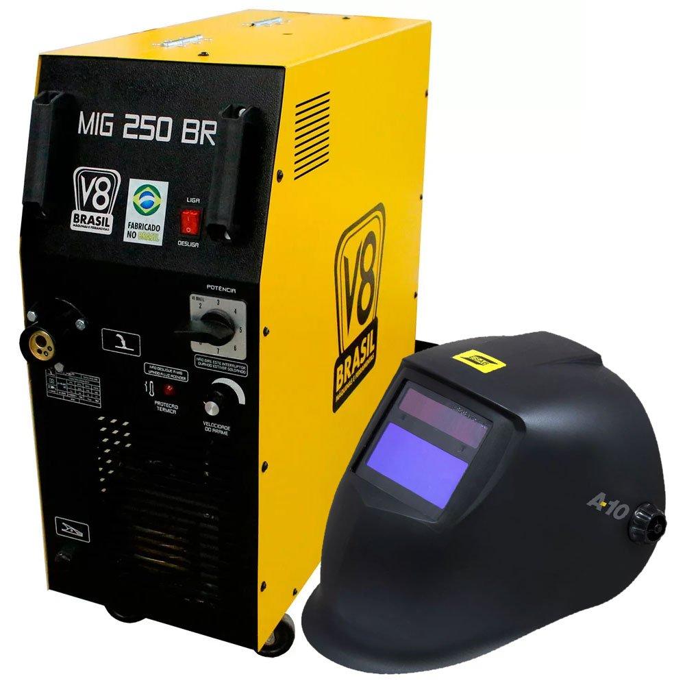 Kit Máquina de Solda V8 BRASIL-110473 250A  Mono + Máscara de Solda Automática A-10  - Imagem zoom
