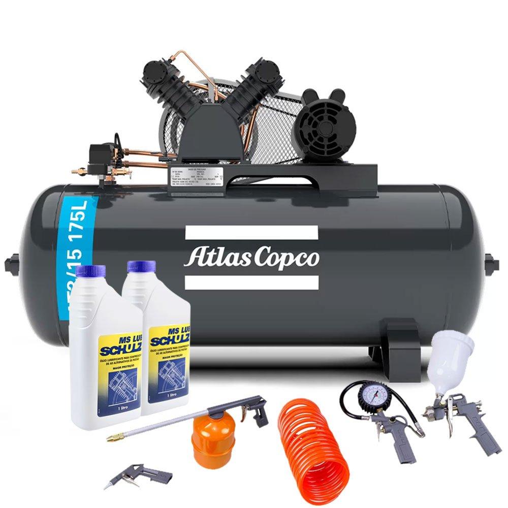 Kit Compressor ATLASCOPCO-AT3/15-175L 15 Pés + 2 Óleos Lubrificante 1 Litro +  Kit de Pintura com 5 Peças - Imagem zoom