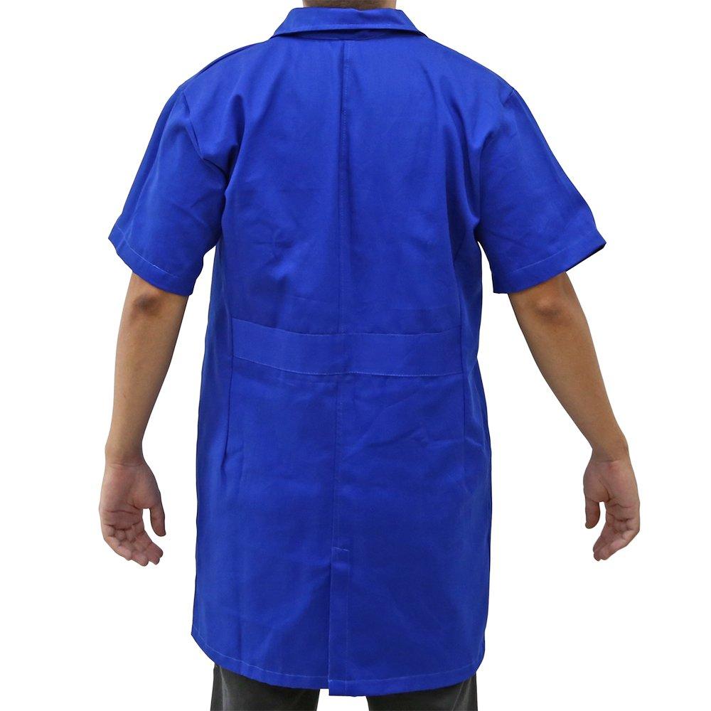Jaleco Industrial Brim Pesado Azul Manga Curta G com Bordado - Imagem zoom