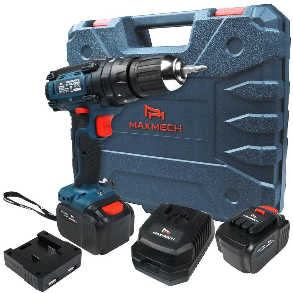 Parafusadeira/Furadeira de Impacto a Bateria 24V Li-Ion com Carregador 2 Baterias e Maleta - Imagem zoom