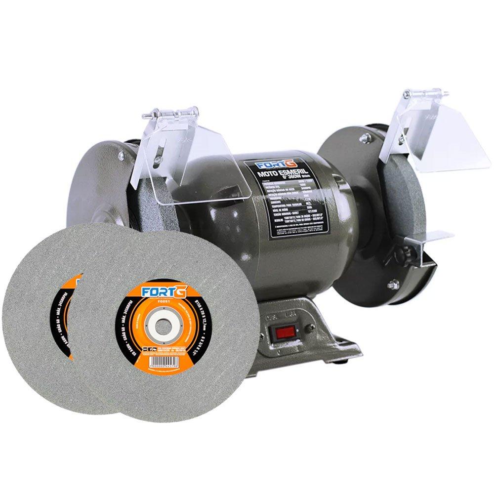Kit Moto Esmeril de Bancada FG050 6 Pol. 360W Bivolt + 2 Rebolos Reto FG051 6 x 3/4 Pol. Grão 60 - Imagem zoom