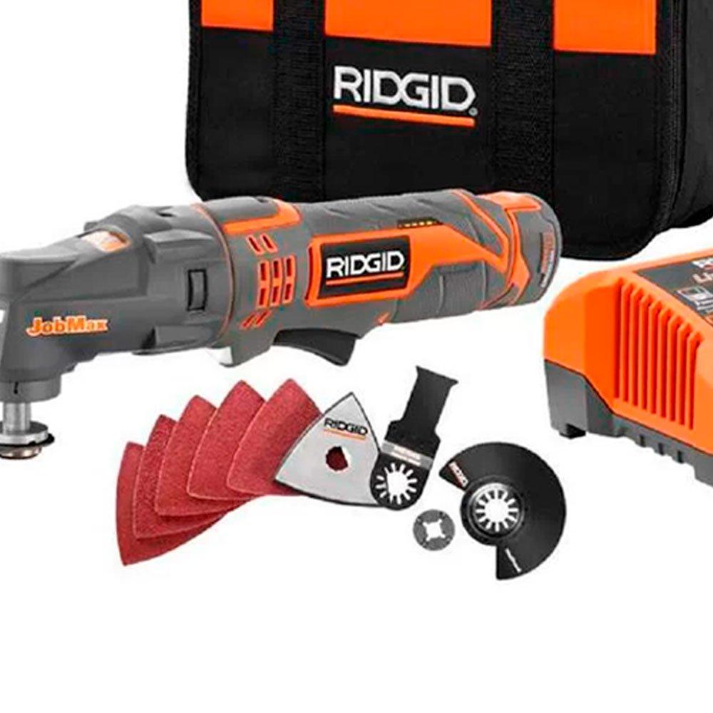 Kit MultiCortadora Oscilante RIDGID-R82235 JobMax 12V + Cabeça de Furadeira e Parafusadeira Jobmax RIDGID-36923 + Cabeça Catraca RIDGID-36928 3/8 Pol. - Imagem zoom