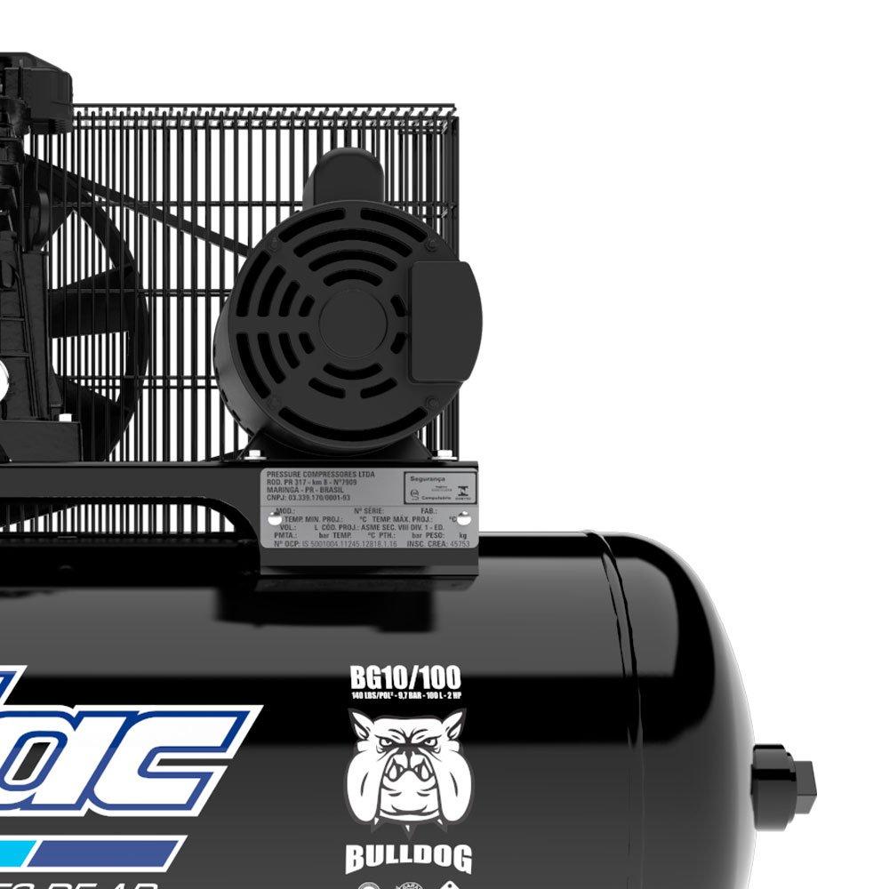 Compressor de Ar Bulldog 10 Pés 100 Litros Monofásico 110/220V - Imagem zoom
