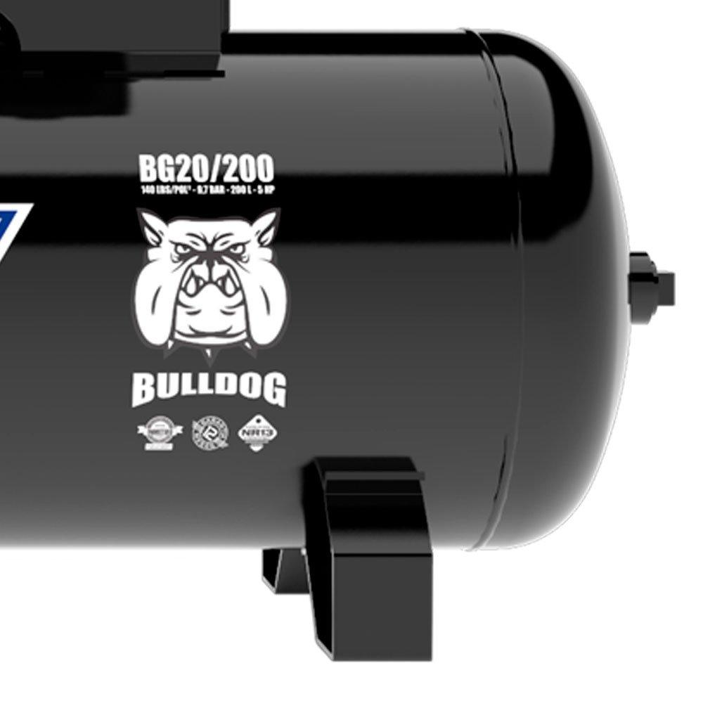 Compressor de Ar 20 Pés 5HP 200 Litros 140 PSI Trifásico 220/380 - Imagem zoom
