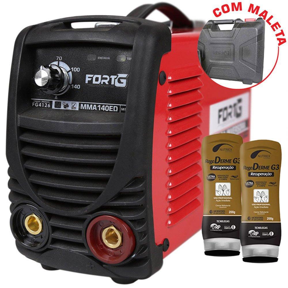 Kit Máquina de Solda Inversora FORTGPRO-FG4126 com Maleta 140A + 2 Cremes Hidratantes NUTRIEX-62232 200g  - Imagem zoom