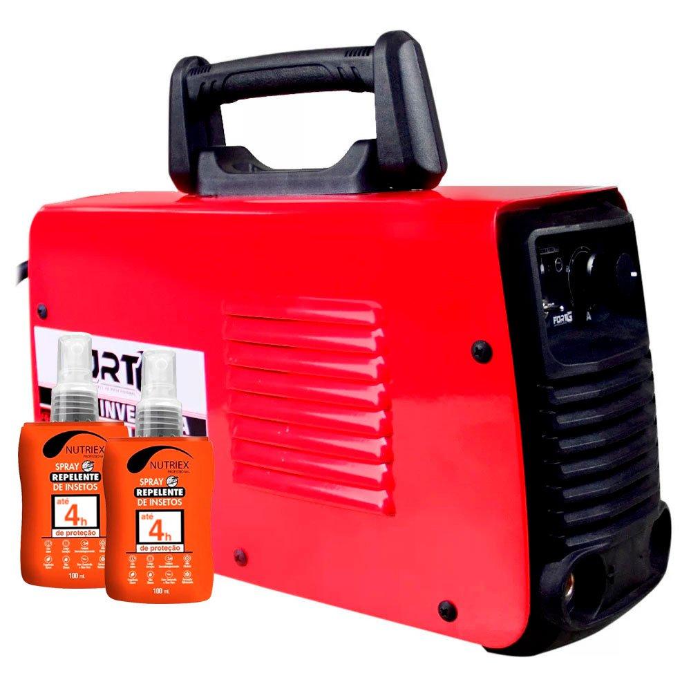 Kit Máquina de Solda MMA160i e TIG Lift 110/220V Fortg FG4122 + 2 Spray Repelente de Insetos 100ml Nutriex 62646 - Imagem zoom