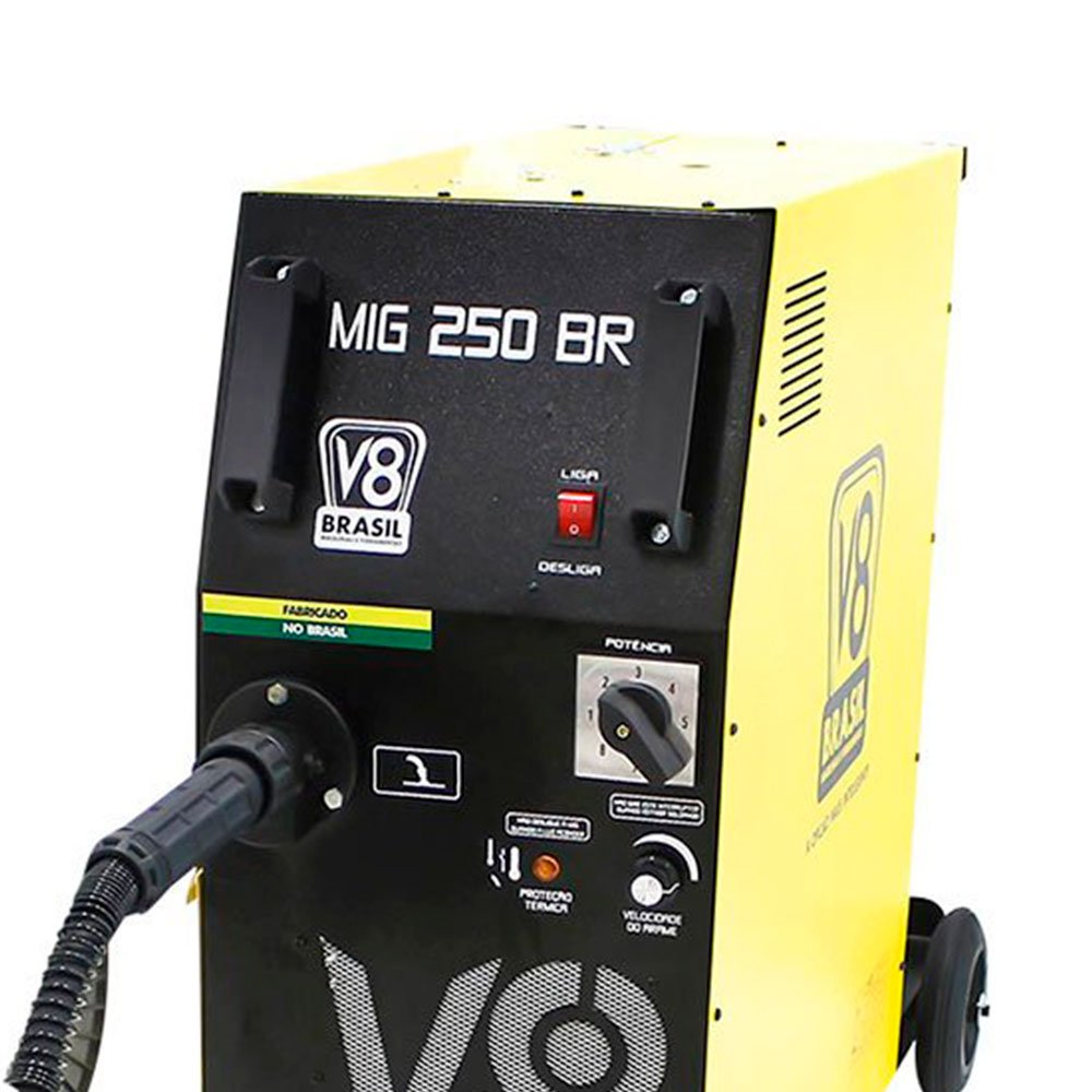 Kit Máquina de Solda V8 BRASIL-110473 MIG 250 BR 250A 220V + Máscara Solda TITANIUM-5496 Combat Fixa - Imagem zoom