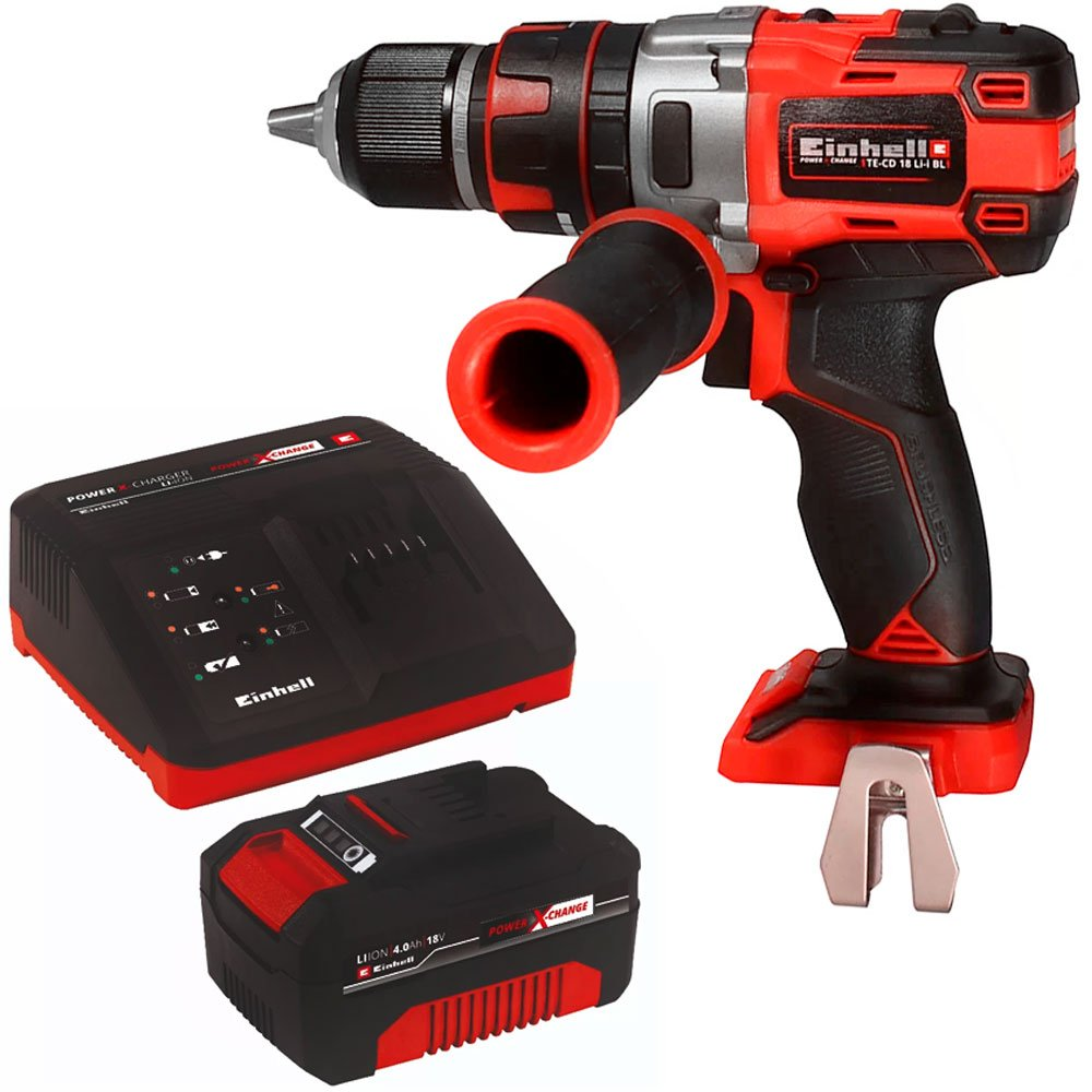 Kit Parafusadeira/ Furadeira de Impacto Brushless EINHELL-TE-CD/18LI-I-B 1/2 Pol. 18V + Bateria e Carregador EINHELL-4512106 18V 4.0 Ah - Imagem zoom